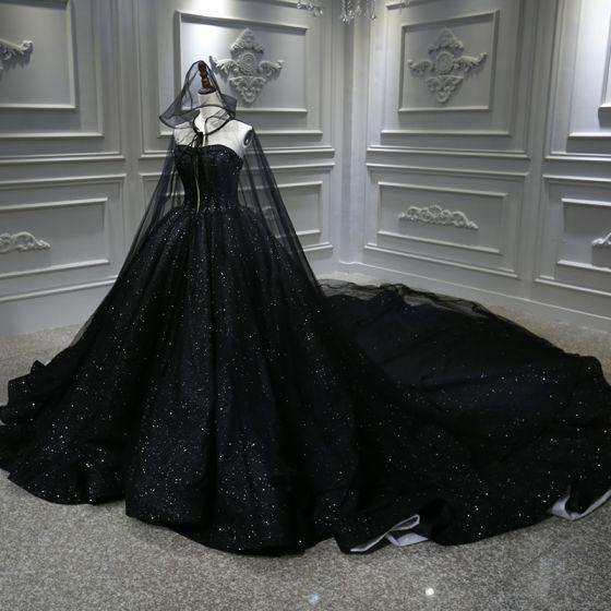 Unique Noire La Mariée Robe De Mariée Avec Cape 2020 Robe Boule Amoureux Sans Manches Dos Nu Perlage Glitter Tulle Royal Train Volants