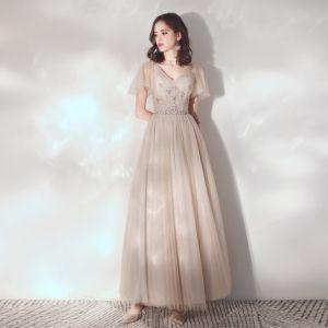 Elegantes Champán Vestidos de noche 2019 A-Line / Princess V-Cuello Rhinestone Crystal Manga Corta Sin Espalda Largos Vestidos Formales