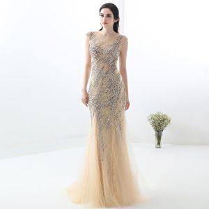 Piękne Szampan Sukienki Wieczorowe 2018 Syrena / Rozkloszowane Koronkowe Wykonany Ręcznie Frezowanie Kryształ Cekiny Wycięciem Bez Rękawów Długie Sukienki Wizytowe