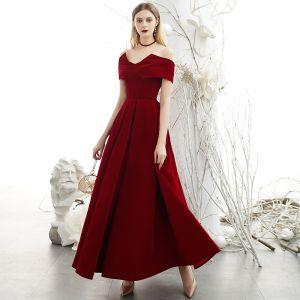 Chic / Belle Bordeaux Daim Robe De Soirée 2020 Princesse Col Haut De l'épaule Manches Courtes Dos Nu Longue Robe De Ceremonie