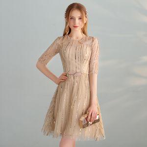 Piękne Złote Homecoming Sukienki Na Studniówke 2018 Princessa Wycięciem 1/2 Rękawy Metal Szarfa Cekiny Krótkie Sukienki Wizytowe