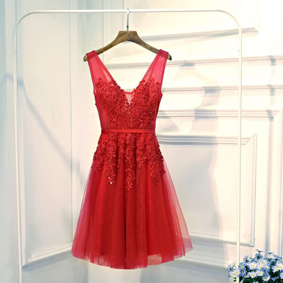Chic / Beautiful Red Formal Dresses Evening Dresses  2017 Lace Flower Pearl Strappy V-Neck Sleeveless Short A-Line / Princess