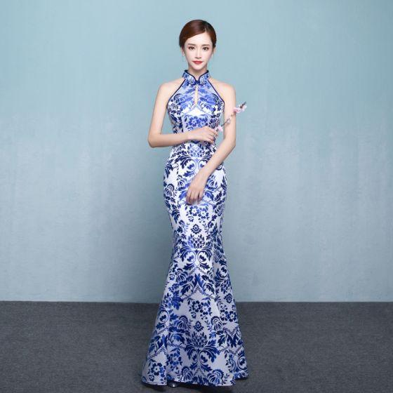 Lange 2018 Chinesischer Stil Königliches Blau Abendkleider PkN8n0OwX