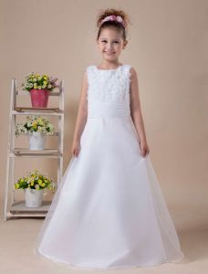 White A-line Sleeveless Embroidery Flower Girl Dress