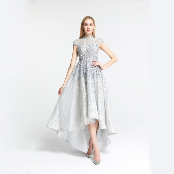 High Low Grey Lace Dancing Prom Dresses 2020 A-Line / Princess High Neck Short Sleeve Handmade  Beading Asymmetrical Formal Dresses