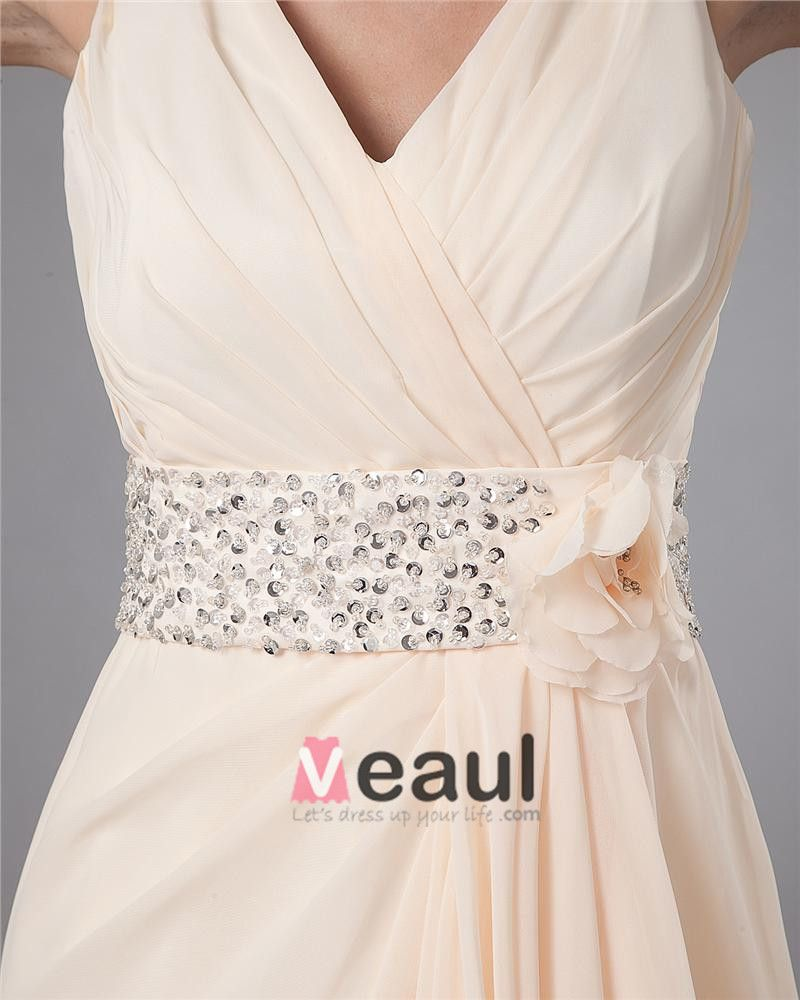 Flower Beading V Neck Floor Length Mothers of Bride Guests Dresses