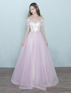 Chic Long Prom Dress Pink Tulle Off The Shoulder Ball Gown With Lace