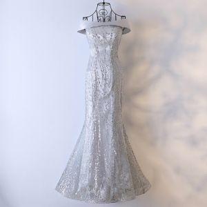 Unique Silber Abendkleider 2017 Pailletten Gekreuzte Träger Ärmellos Eckiger Ausschnitt Lange Mermaid Festliche Kleider