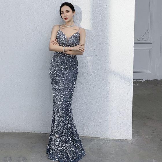 Seksowne Błyszczące Ciemnoniebieski Cekiny Sukienki Wieczorowe 2021 Syrena / Rozkloszowane Spaghetti Pasy Bez Rękawów Bez Pleców Długie Sukienki Wizytowe