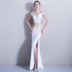 Elegant 2017 White Evening Dresses  U-Neck Appliques Handmade  Trumpet / Mermaid Evening Party Formal Dresses