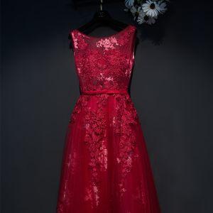 Schöne Rot Festliche Kleider 2017 Empire Spitze Blumen Riemchen Rundhalsausschnitt Ärmellos Knöchellänge Abendkleider