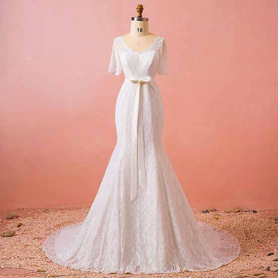 Chic Beautiful Ivory Plus Size Chapel Train Wedding Dresses 2018 Trumpet Mermaid V Neck Tulle