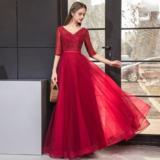 55145d8a9e Piękne Burgund Sukienki Wieczorowe 2019 Princessa V-Szyja Z Koronki Cekiny  1 2 Rękawy Bez Pleców ...