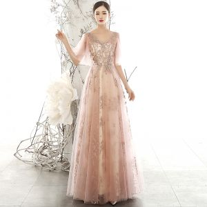 Chic / Beautiful Pearl Pink See-through Evening Dresses  2020 A-Line / Princess V-Neck Puffy 1/2 Sleeves Glitter Appliques Sequins Tulle Floor-Length / Long Ruffle Backless Formal Dresses