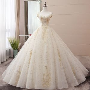 Elegant Champagne Wedding Dresses 2019 Ball Gown Off-The-Shoulder Beading Pearl Sequins Lace Flower Sleeveless Backless Chapel Train