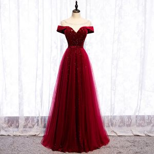 Chic / Beautiful Burgundy Evening Dresses  2020 A-Line / Princess Suede Scoop Neck Star Sequins Rhinestone Short Sleeve Backless Floor-Length / Long Formal Dresses
