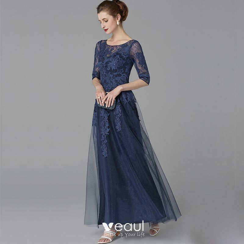 Classic Elegant Mother Of The Bride Dresses 2020 Floor Length Long A Line Princess U Neck