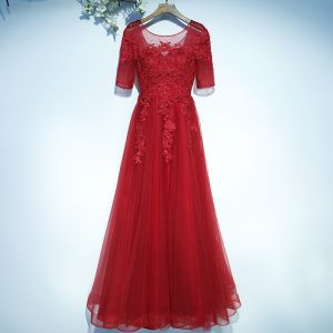 Chic / Beautiful Red Evening Dresses  Formal Dresses 2017 Lace Flower Backless 1/2 Sleeves Scoop Neck Floor-Length / Long A-Line / Princess