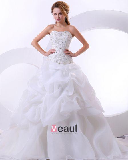Elegant Satin Organza Profilerade Volanger Broderi Kapell Brud Balklänning Brudklänningar Bröllopsklänningar
