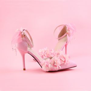 Lovely Candy Pink Prom Womens Shoes 2018 Pearl Flower Ankle Strap 9 cm Stiletto Heels Pointed Toe Pumps
