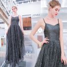Sparkly Silver Grey Evening Dresses  2019 A-Line / Princess Spaghetti Straps Sequins Sleeveless Backless Floor-Length / Long Formal Dresses