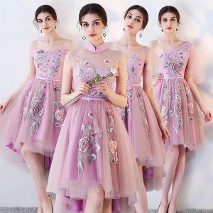 Haute Basse Lilas Robe Demoiselle D'honneur 2018 Princesse Ceinture Brodé Asymétrique Volants Dos Nu Robe Pour Mariage