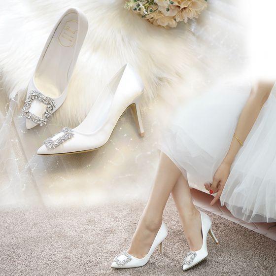 Charmant Ivoire Chaussure De Mariée 2020 Satin Faux Diamant 9 cm Talons Aiguilles À Bout Pointu Mariage Escarpins