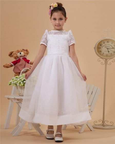 Cute Spaghetti Straps Ankle-Length Taffeta Yarn A-Line Flower Girls' Dress