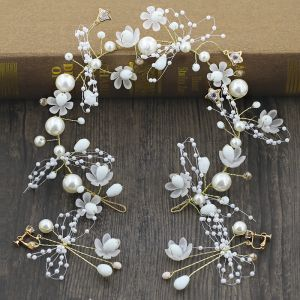 Flower Fairy Gold Bridal Jewelry 2020 Metal Beading Pearl Flower Headpieces Earrings Wedding Accessories