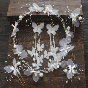 Wróżka Kwiatowa Kość Słoniowa Kwiat Jedwabiu Biżuteria Ślubna 2020 Motyl Frezowanie Kolczyki Opaski na głowę Ozdoby Do Włosów Ślubne