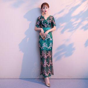 Unique Dunkelgrün Abendkleider 2018 Meerjungfrau Spitze Blumen V-Ausschnitt Kurze Ärmel Knöchellänge Festliche Kleider