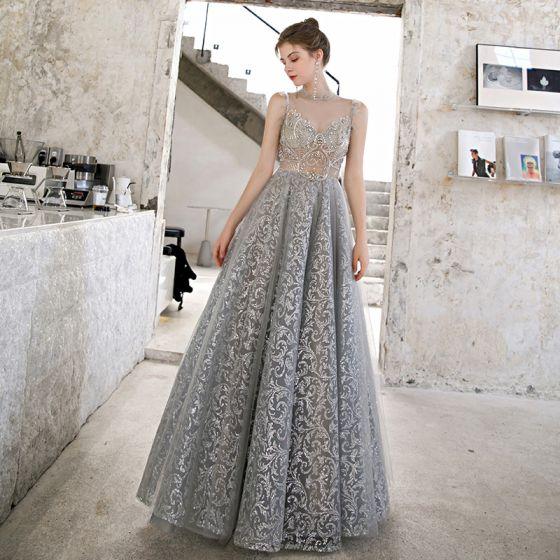 Espejismo Gris Transparentes Vestidos de gala 2020 A-Line / Princess Cuello Alto Sin Mangas Rebordear Glitter Tul Largos Ruffle Vestidos Formales