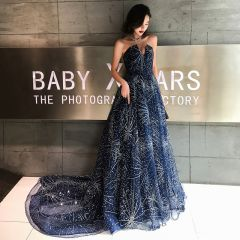 Bling Bling Navy Blue Evening Dresses  2019 A-Line / Princess Amazing / Unique Sweetheart Sleeveless Backless Glitter Tulle Court Train Ruffle Formal Dresses