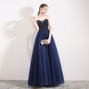 Charming Navy Blue Glitter Prom Dresses 2019 A-Line / Princess Strapless Crystal Sleeveless Backless Floor-Length / Long Formal Dresses