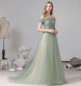 Classy Sage Green Evening Dresses  2020 A-Line / Princess Off-The-Shoulder Short Sleeve Backless Sweep Train Formal Dresses