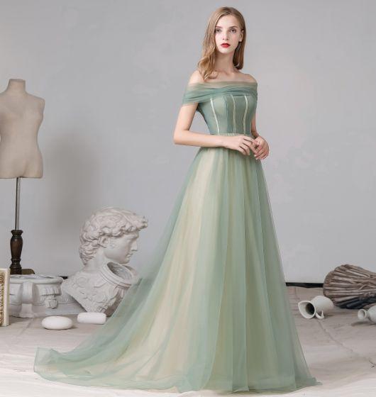 Classy Sage Green Evening Dresses  2020 A-Line / Princess Off-The-Shoulder Short Sleeve Backless Sweep Train Formal Dresses