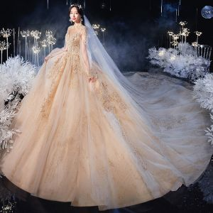 Victorian Style Champagne See-through Bridal Wedding Dresses 2020 Ball Gown High Neck Puffy Long Sleeve Backless Appliques Lace Beading Glitter Tulle Cathedral Train