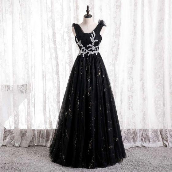 Hermoso Negro Vestidos de gala 2021 A-Line / Princess V-Cuello Ruffle Rhinestone Lentejuelas Largos Sin Mangas Sin Espalda Vestidos Formales
