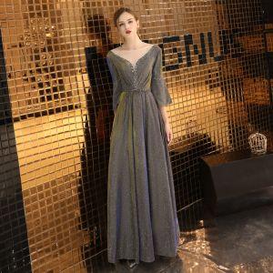 Elegant Grey Evening Dresses  2019 A-Line / Princess Scoop Neck Sequins 3/4 Sleeve Backless Floor-Length / Long Formal Dresses