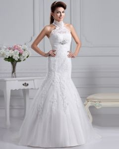 Gauze High Neck Applique Monarch Train A-line Wedding Dress