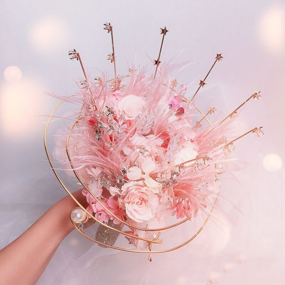 Flower Fairy Elegant Blushing Pink Wedding Flowers 2020 Metal Appliques Beading Crystal Feather Flower Rhinestone Bridal Wedding Accessories