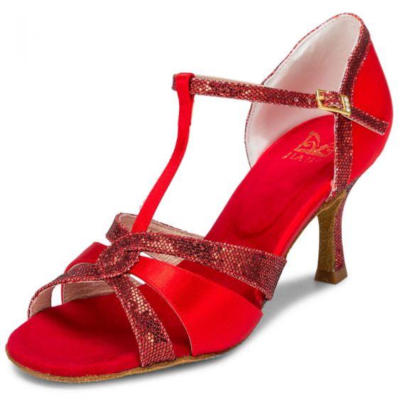 Chic / Beautiful Red Prom Rhinestone Latin Dance Shoes 2021 T-Strap 7 cm Stiletto Heels Open / Peep Toe Womens Sandals High Heels