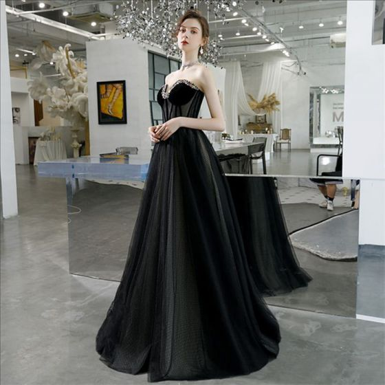 Elegant Black Prom Dresses 2020 A-Line / Princess Sweetheart Sleeveless Rhinestone Beading Floor-Length / Long Backless Formal Dresses