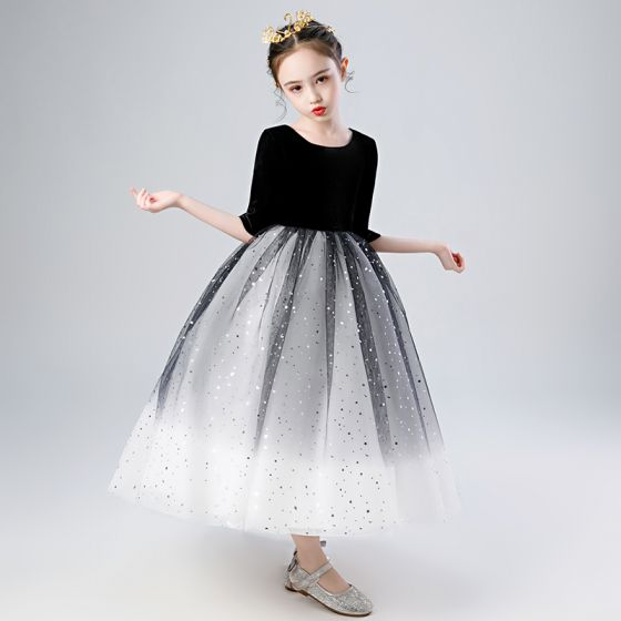 Elegant Black Gradient-Color White Birthday Flower Girl Dresses 2020 Ball Gown Scoop Neck 1/2 Sleeves Star Sequins Ankle Length Ruffle