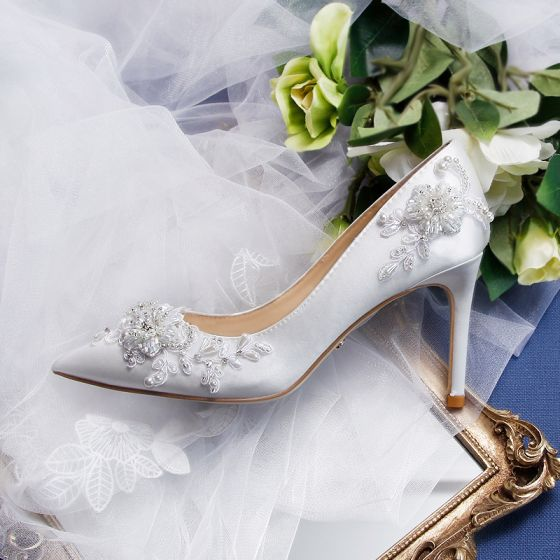 Eleganta Elfenben Beading Brudskor 2020 Läder Kristall Rhinestone Pärla 9 cm Stilettklackar Spetsiga Bröllop Pumps