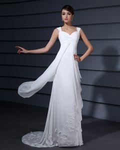 Schultergurte Applique Ruffle Bodenlangen Chiffon Frau Reich Hochzeitskleid