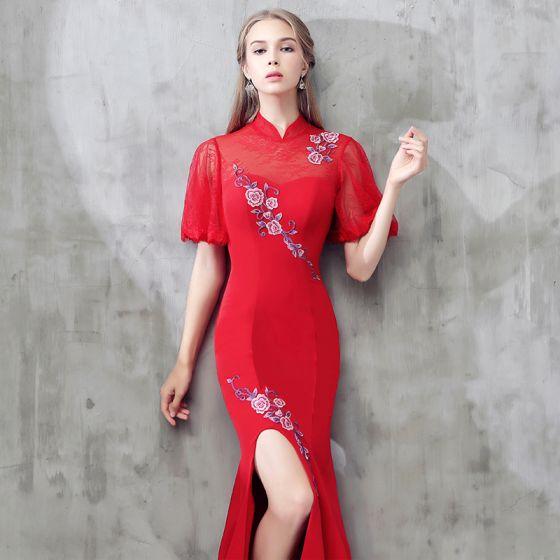 2eb445b529bd Flotte Rød Kinesisk Stil Kjoler 2017 Havfrue Med Blonder Blomsten Strappy  Høj Hals 1 2 De ...