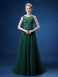 Primicia Imperio Apliques Escote De Encaje Sin Espalda Vestidos De Noche Largo De Color Verde Oscuro