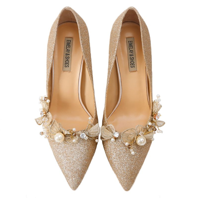Sparkly Gold Wedding Shoes 2019 Leather Sequins Appliques Pearl 9 cm Stiletto Heels Pointed Toe Wedding Pumps