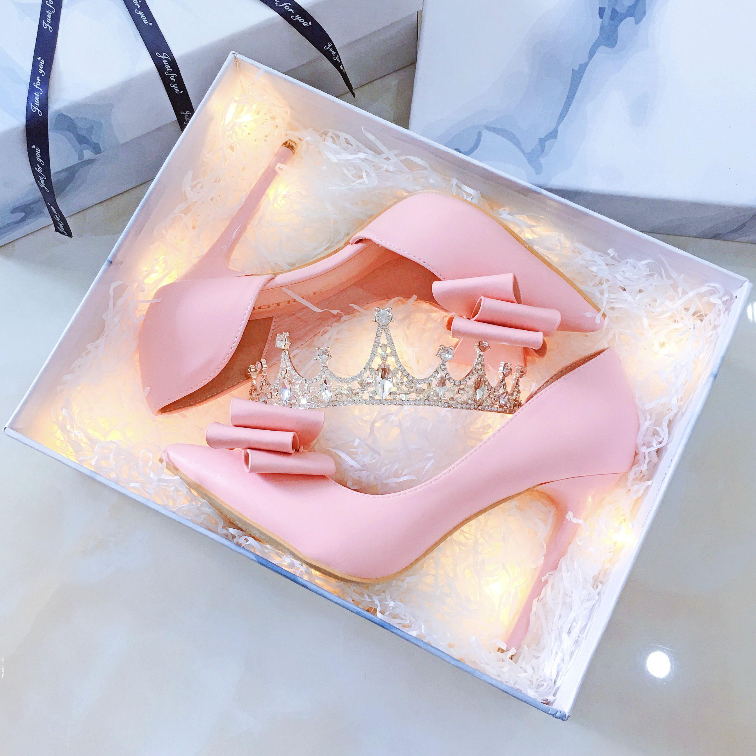 Modern / Fashion Candy Pink Wedding Shoes 2019 Bow 10 cm Stiletto Heels Pointed Toe Wedding Pumps